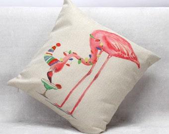 Housse de coussin déco toile de lin et coton beige | Décoration d'intérieur | Chambre| Enfant & bébé |  Design Scandinave |  Flamant rose