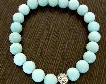 Genuine Reiki Charged Amazonite Bracelet with Buddha Charm
