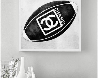 Fashion rugby ball poster. Rugby fashion printable. Fashion printable poster. Fashion artwork. Watercolor fashion art. Instant download