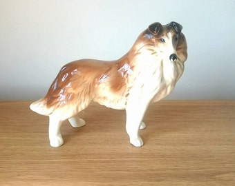 Vintage Collie Dog Figurine Ceramic Lassie Dog Rough Collie Collectible Dog Figurine Beswick Style Border Collie Shetland Sheepdog