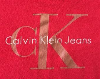 Vintage Red 90's Calvin Klein CK Jeans Logo Tshirt