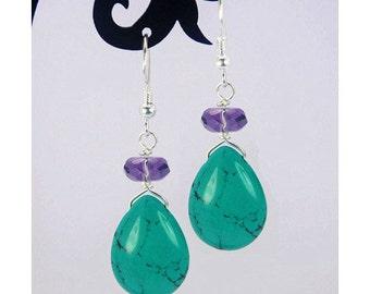 Amethyst Crystal,Turquoise Tear-drop 925 Sterling Silver Earrings E187