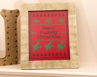 Merry F***ing Christmas Crude Cross Stitch