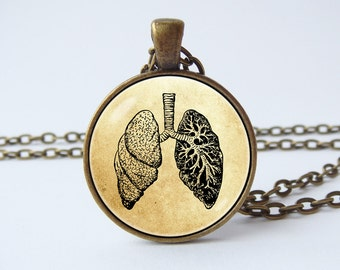 Anatomical lungs necklace Human lungs Anatomy jewelry Lungs pendant Lungs jewelry Biology necklace Doctor gift Medical Science necklace