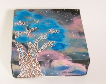 Original Universe Tree Painting Mini Canvas