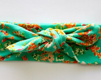 Green Floral Knot Headband