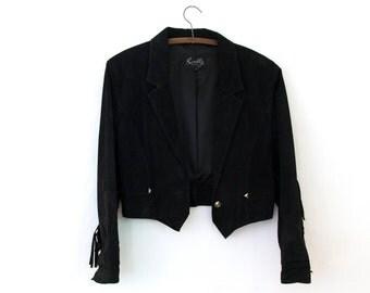 Vaquera Jacket — 1980s vintage Scully suede jacket // black genuine leather fringe jacket // Southwestern style cropped jacket // medium