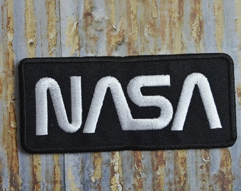 NASA Black White Writing Space Astronaut Station Iron On Patch Badge Clothing
