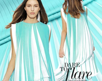 I y -Light Blue and White Pleated Chiffon Fabric, Imported