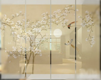Japanese water painting hanging soft folding screen
