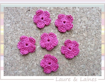 6 small flowers made crochet cotton color fuschia (2.5 cm - 1 inch)