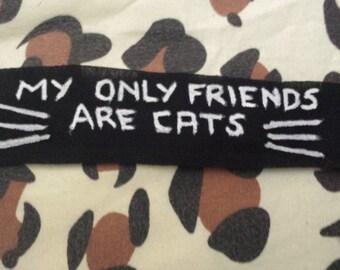 cat patch, cute, feminist, riot grrl, crust, punk, alternative, no friends