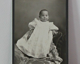 Adorable Victorian Baby in High necked Ruffled gown standing on a chair Vintage Sepia Cabinet Card Photograpy Orgill Studio Hartford CT