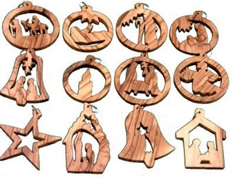 Bethlehem Olive Wood Handcarved Christmas Ornaments from Jerusalem