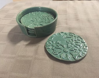 Handmade Coasters with Holder, Pottery Coaster with Holder