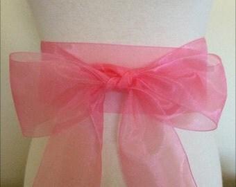Rose pink organza  sash. 2.75 inch wide. Pink Nylon organza sash. Bridal sash. Simple sash. Bridesmaid sash
