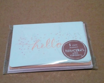 Set of 8 Postcards with Envelopes - Peach Pink Confetti Hello - Target Dollar Spot