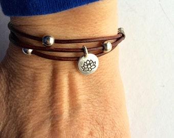 jewelry, bracelet, leather bracelet, charm bracelet,leather wrap bracelet, 3 strand leather bracelet