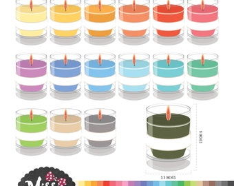 28 Colors Vovite Candle Clipart - Instant Download