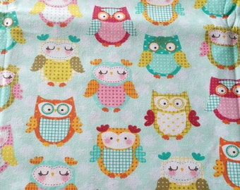 Sweet candy colors owlets in mint background