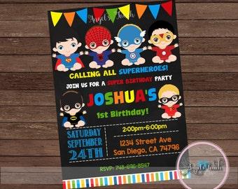 Super Hero Baby Party Invitation, Superheroes Babies Birthday Invitation, Superheroes Birthday Party Invitation, Digital File