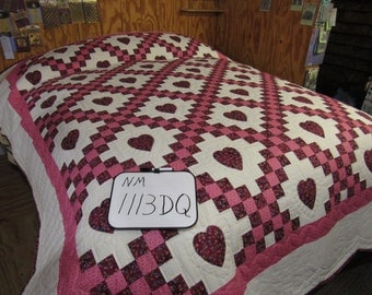 Double Irish Chain Quilt with Hearts for Double or Queen-size Bed in Burgundy and Rose