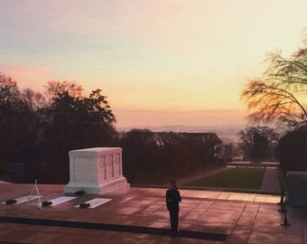 Tomb of the Unknown Solider at Dawn - Arlington National Cemetery - In Memoriam - 8x8 and 12x12 - Photography Giclée