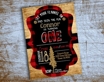 Printable Red and Black Plaid Boy Birthday Party Invitation