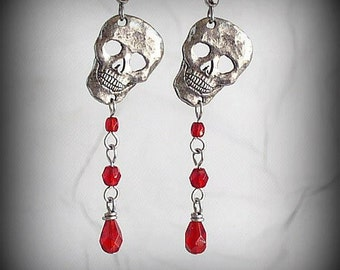SALE 50% OFF - Poor Yorick - Antique Silver Macabre Skull Earrings with Dripping Blood Red Glass