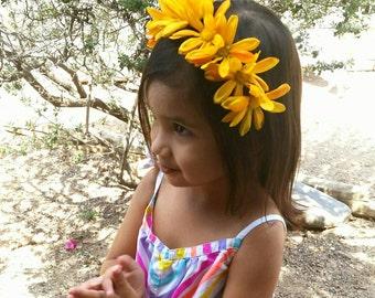 Flower Headband - Yellow Daisies