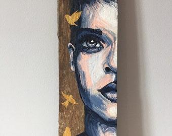 """Painting on wood """"Oiseaux"""""""