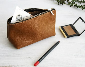 LEATHER POUCH, Brown Leather Clutch Leather Toiletry Bag Leather Bag Leather Makeup Bag Leather Purse Leather Cosmetic Bag