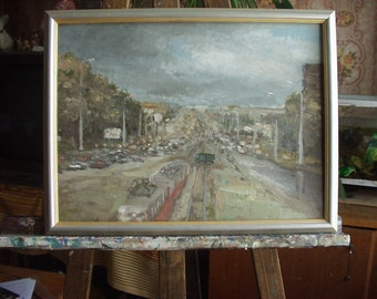 City oil painting,cityscape painting,original painting, city landscape,hand painted, oil painting,cityscape, painting