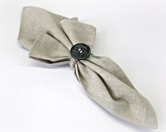 Cloth napkin and napkin holder Charcoal button napkin rings Natural light grey place setting linen napkins Thanksgiving decor SET of 4