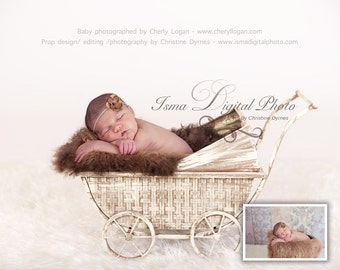 Vintage Stroller 2 - Beautiful Digital background  (Vintage Stroller With Brown Furry Blanket 2 )