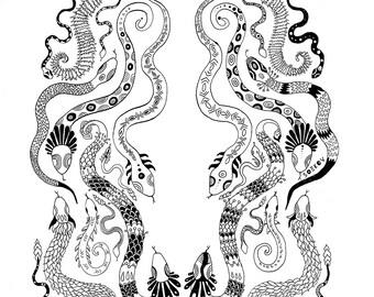 Serpents - Original ink drawing