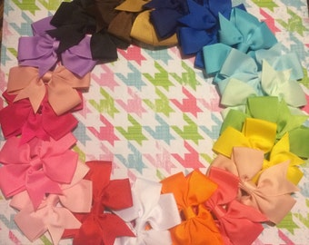 """1.00 solid bows Choose 5 3"""" Hairbow Girls Hair Bows SPRING COLORS"""