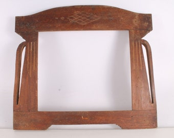Antique Primitive Old Handmade Wooden Picture Frame.