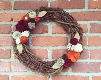 Felt Flower Grapevine Wreath: Fall Colors
