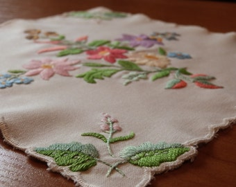 """Traditional hand made Hungarian vintage embroidered white cotton centerpiece with colorful """"kalocsai"""" flowers"""