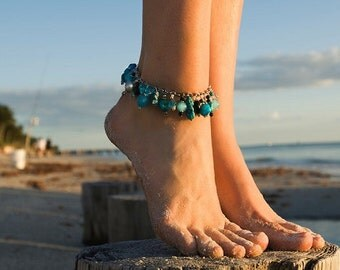 Handmade Turquoise & Pearl Anklet