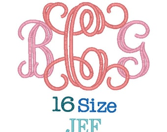 Interlocking Applique Monogram Font 16 Sizes JEF Format, Interlocking Applique Monogram Fonts,Monogram Embroidery,Machine Embroidery