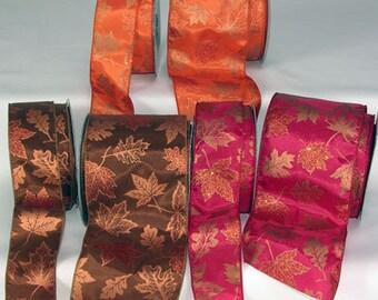 Fall Maple Leaf Ribbon - WE - 2 Widths - 20 Yard Roll