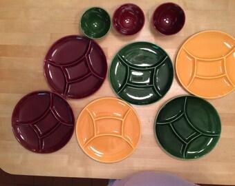 Vintage 1960's Fondue Ceramic Plate and Bowl Set