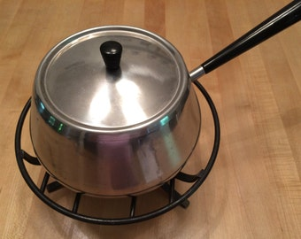 Vintage 1960's Stainless Fondue Pot Swiss Made