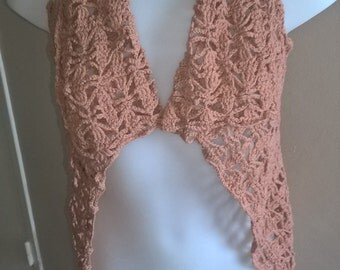 Crochet jacket, old pink, Bohemian