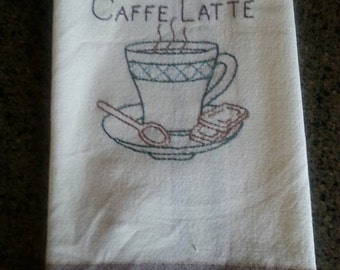 New Handmade Embroidery Caffe Latte  Coffee Dunroven Brown Striped Trim Flour Sack Kitchen Towel Tea Towel