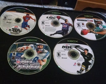 Lot of 5 XBOX Games Sports Basketball Football