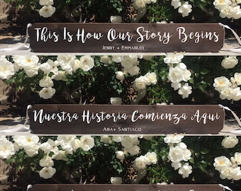 Rustic Wedding Sign - This Is How Our Story Begins Ceremony Aisle Rustic Wedding Sign