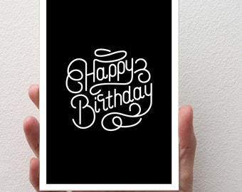 Birthday Card | C6 Size - Card and Envelope | Script Font, Happy Birthday